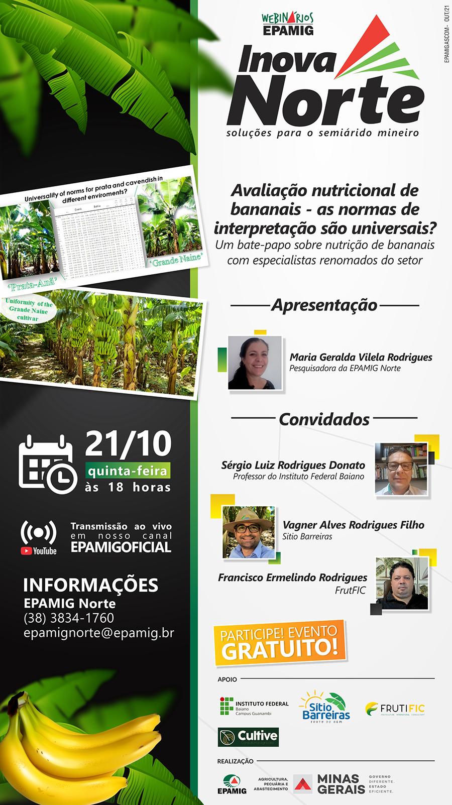Inova Norte - Avaliação nutricional de bananais @ EVENTO ONLINE - Canal Oficial da EPAMIG no YouTube